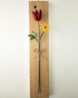"Quadretto su asse ""tulipano, margheritina ed edera"""