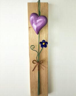 """Quadretto su asse """"cuore grande e fiore di fragola"""""""