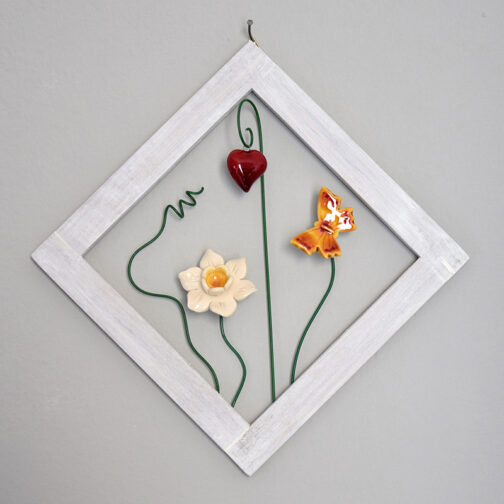 Quadro cornice fiori ceramica rombo