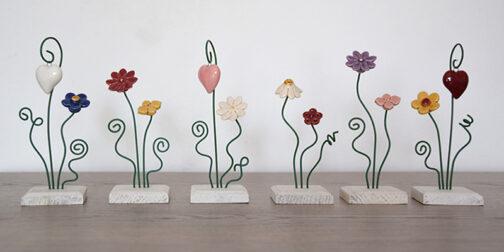Piedistalli a 2 fiori in ceramica