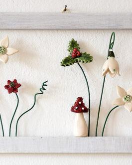 """Quadretto a cornice """"fiori invernali"""""""